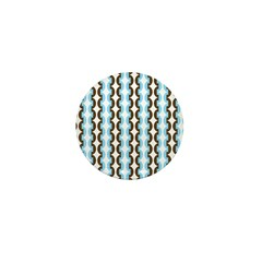Brown and Blue Stripes Mini Button