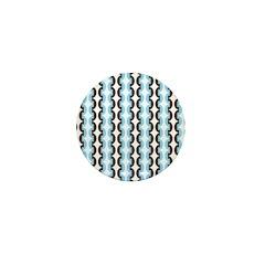 Brown and Blue Stripes Mini Button