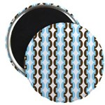 """Brown and Blue Stripes 2.25"""" Magnet (10 pack)"""