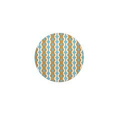 White & Orange Mod Print Mini Button