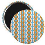 """White & Orange Mod Print 2.25"""" Magnet (10 pack)"""