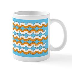 White & Orange Mod Print Ceramic Coffee Mug