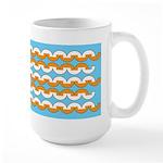 White & Orange Mod Print Large Mug (15 oz)