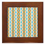 White & Orange Mod Print Framed Tile