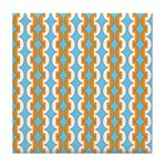 White & Orange Mod Print Tile Drink Coaster