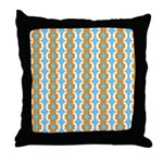 White & Orange Mod Print Throw Pillow