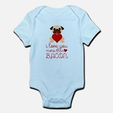 I Love You More Than Bacon Valentine Faw Body Suit