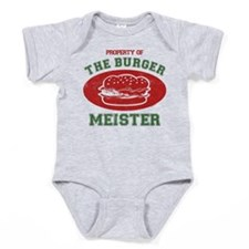 Property Of Burger Meister Baby Bodysuit