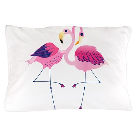 Cute Pillow Illustration : Cute Pink Flamingos Illustration Pillow Case by ADMIN_CP63016328