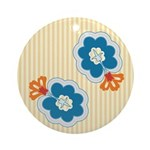 Floral Paisley Retro Ornament (Round)
