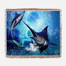 Awesome marlin Woven Blanket
