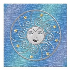"Harvest Moons Silver Moon Square Car Magnet 3"" x 3"