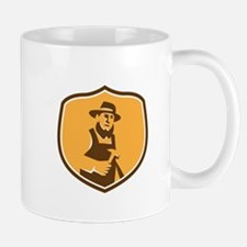 Amish Carpenter Holding Hammer Crest Retro Mugs