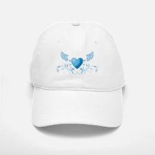Blue hearth with wings Baseball Baseball Cap