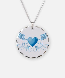 Blue hearth with wings Necklace