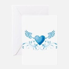 Blue hearth with wings Greeting Cards