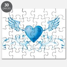 Blue hearth with wings Puzzle