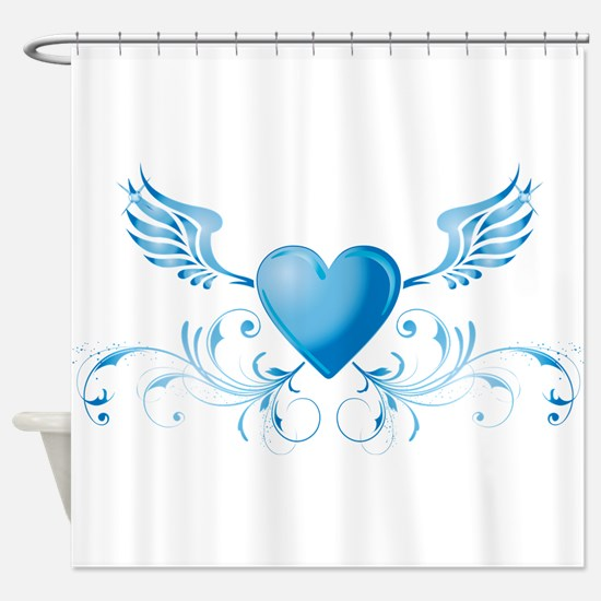 Blue hearth with wings Shower Curtain