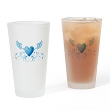 Blue hearth with wings Drinking Glass