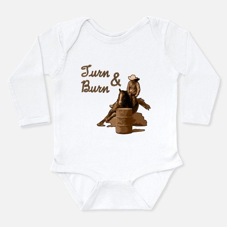 Cute Turn and burn Long Sleeve Infant Bodysuit
