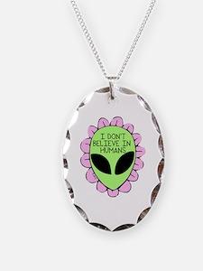 Unique Aliens Necklace Oval Charm