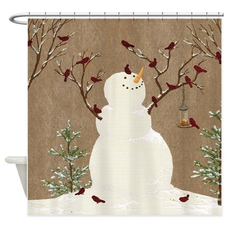Snowman And Birds Scene Shower Curtain By Simpleshopping