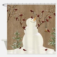 Snowman and Birds Scene Shower Curtain