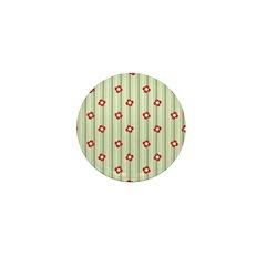 Retro Floral Stripe Mini Button
