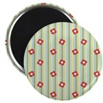 "Retro Floral Stripe 2.25"" Magnet (10 pack)"
