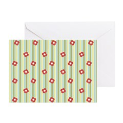 Retro Floral Stripe Greeting Cards (Pk of 20)