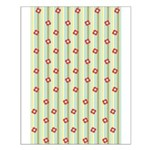 Retro Floral Stripe Small Poster