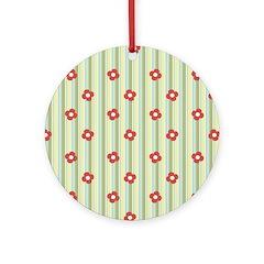 Retro Floral Stripe Ornament (Round)