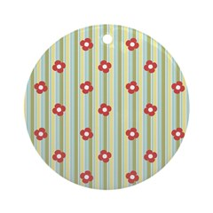 Retro Floral Stripe Ornament (Round)