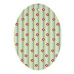 Retro Floral Stripe Oval Ornament