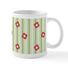 Retro Floral Stripe Ceramic Coffee Mug