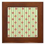 Retro Floral Stripe Framed Tile