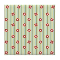 Retro Floral Stripe Tile Drink Coaster