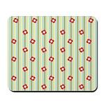 Retro Floral Stripe Mousepad