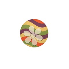Floral Striped Hippie Art Mini Button
