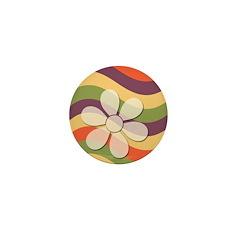 Floral Striped Hippie Art Mini Button