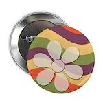 Floral Striped Hippie Art Button