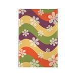 Floral Striped Hippie Art Rectangle Magnet (100 pa