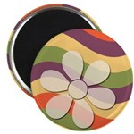 Floral Striped Hippie Art Magnet