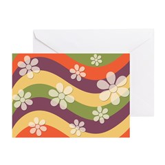 Floral Striped Hippie Art Greeting Cards (Pk of 20