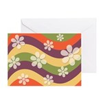 Floral Striped Hippie Art Greeting Card