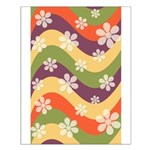 Floral Striped Hippie Art Small Poster