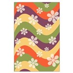 Floral Striped Hippie Art Large Poster