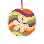 Floral Striped Hippie Art Ornament (Round)