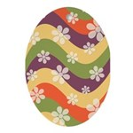Floral Striped Hippie Art Oval Ornament