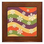 Floral Striped Hippie Art Framed Tile